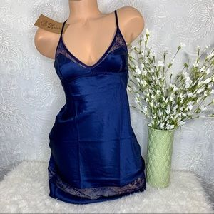 XS Victoria's Secret Satin Sleep Slip Blue Lace